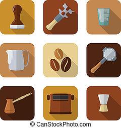 flat design coffee barista equipment icons set