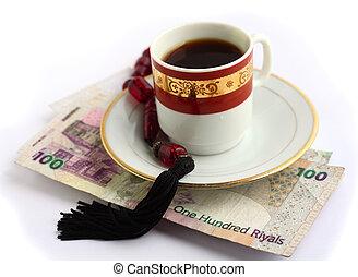 Coffee beads and cash
