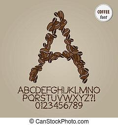 Coffee Bean Alphabet and Digit Vector
