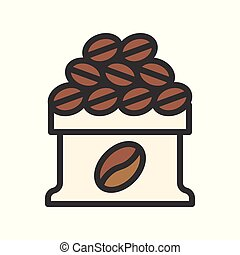 Coffee bean bag vector, coffee related filled style editable stroke icon