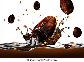 Coffee bean falling into a dark liquid, forming a crown...