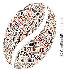 Coffee bean in words arrangement graphic illustration. Beverage business concept.