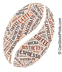Coffee bean graphics - Coffee bean in words arrangement...