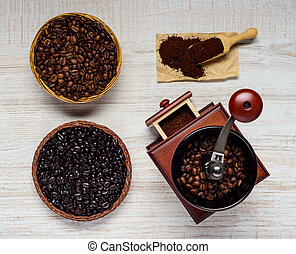 Coffee Bean Grinder with Beans and Ground