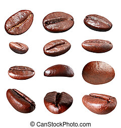 Coffee bean group isolated