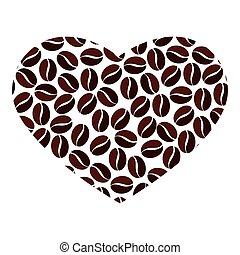coffee bean heart love icon vector graphic