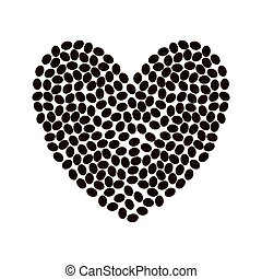 coffee bean heart shape beverage icon. Vector graphic