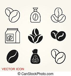 Coffee bean icon. Flat vector illustration isolated on background.