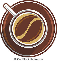 Coffee bean in a coffee cup viewed from overhead with a saucer in shades of brown, vector illustration