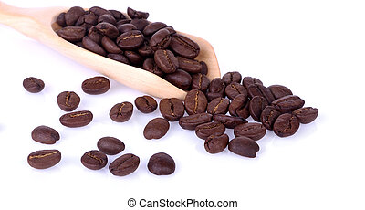 coffee bean in wooden spoon on white background.