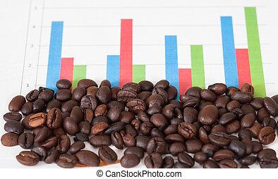 coffee bean on chart board