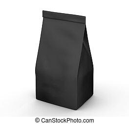 Coffee bean package mockup, blank black bag template in 3d...