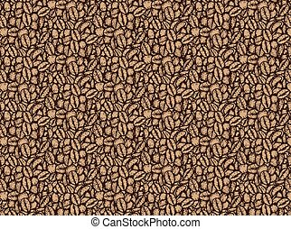 Coffee bean pattern by hand drawing.