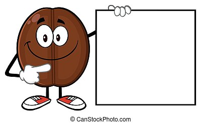 Coffee Bean Pointing To A Blank Sig - Smiling Coffee Bean...