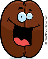 A cartoon coffee bean happy and smiling.