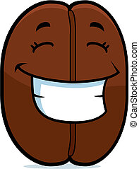 A cartoon coffee bean smiling and happy.