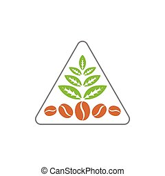 coffee bean tea leaf triangle line logo vector
