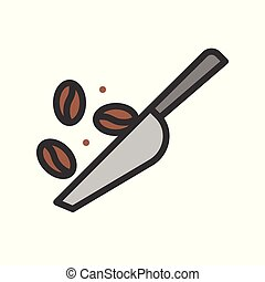 Coffee bean vector, coffee related filled style editable stroke icon