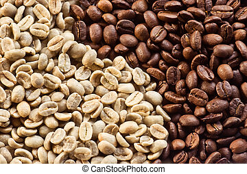 Coffee Beans 07 - Green beans and roasted coffee beans ...