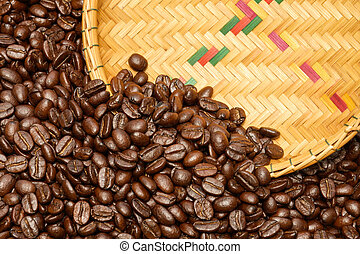 Coffee beans and basketry background.
