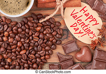 Coffee beans and chocolates.