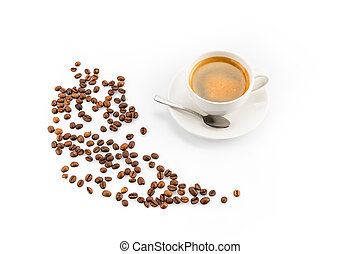 coffee beans and cup of coffee with spoon isolated on white