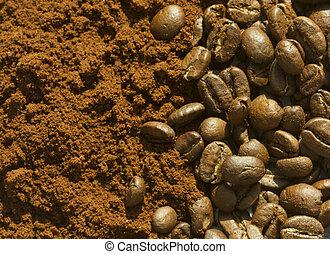 Coffee beans and grounf coffee