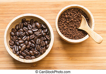 Coffee beans and instant coffee in the wood bowl 2