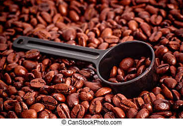 Coffee Beans and Measuring Spoon