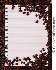 coffee beans and notebook