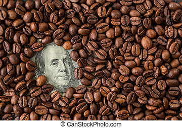 Coffee beans and one hundred dollar bill.