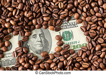 Coffee beans and one hundred dollar bill