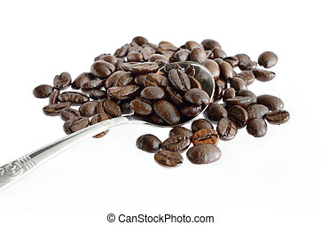 Coffee beans and silver spoon isolated on white