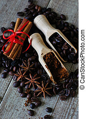 Coffee beans and spices