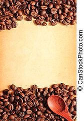 Coffee beans and wooden spoon on old paper background