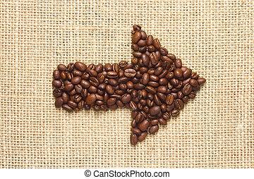 Coffee beans arrow on sacking