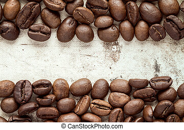 Coffee beans at border of image
