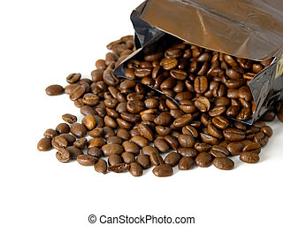 Coffee beans coming out a bag on a white background