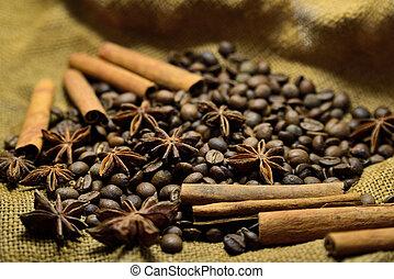 Coffee beans, cinnamon sticks and star anise