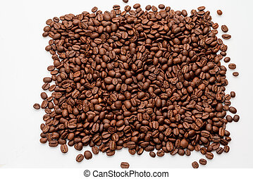 coffee beans close up on a white isolated background, copy space.