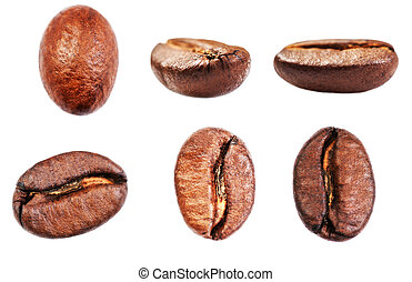 Coffee beans collection Isolated on white background, ...
