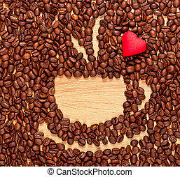 coffee beans cup and heart