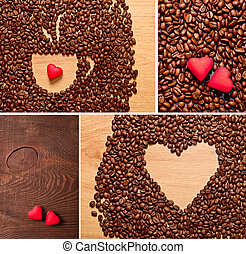 coffee beans, cup and heart