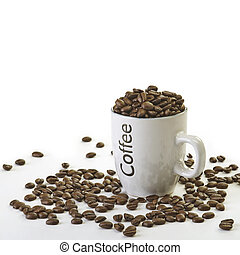 Coffee Beans - Cup full of Coffee beans with white...