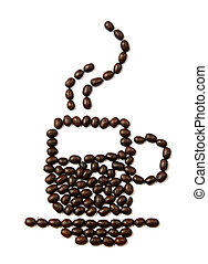 Coffee beans design form of a cup