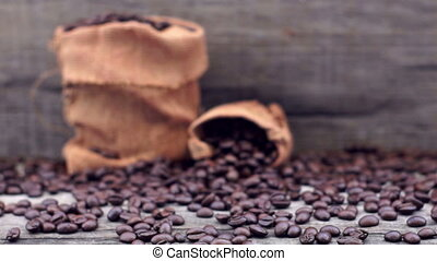 Coffee Beans dolly shot - A dolly shot of a sack of coffee...