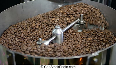 Coffee beans factory mixing - Technology roasting coffee...