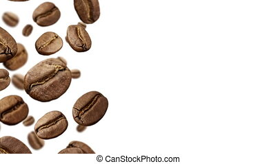 Coffee Beans falling down on white background