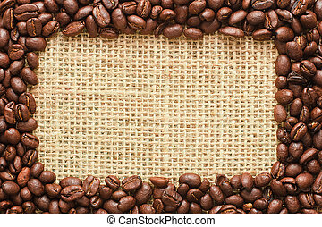 coffee beans frame on sacking