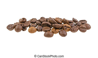 coffee beans heap on a white background isolated